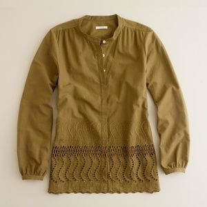 Used, J. Crew Brown Green Delaney Eyelet Trim Shirt for sale